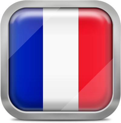 France square flag with metallic frame