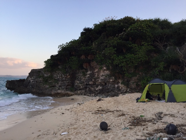 Camping on the beach at Kouri Island, Okinawa was a cheap way to have a staycation with the dog as well.