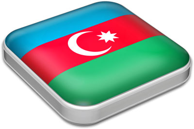 Flag of Azerbaijan with metallic square frame