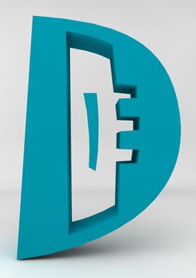 lettre 3D homme joker turquoise - D - images libres de droit
