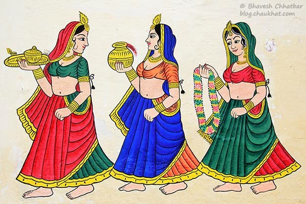 Wall painting of 3 women