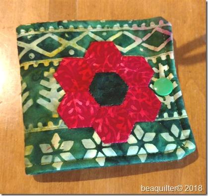 batik needle case with EPP flower