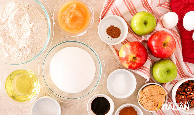 ingredients for the apple bundt cake recipe