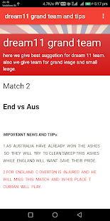 dream11 grand team and tips - náhled