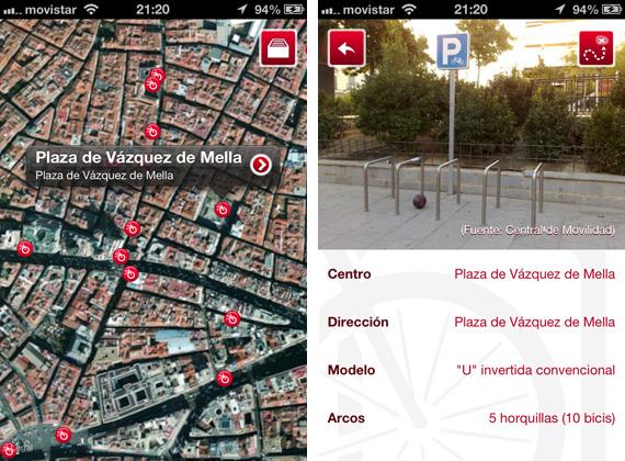Todos los aparcabicis de Madrid en tu SmartPhone