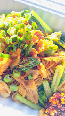Haan Ghin food cart in Portland's delicious craveable dish of Mii Gai in both Laos and Thai means Noodles (Mii) and Chicken (Gai). The details are that these are egg noodles with housemade sweet and savory Mii sauce topped with chicken, ong choy, fried garlic/shallots, scallions and crispy chicken skin