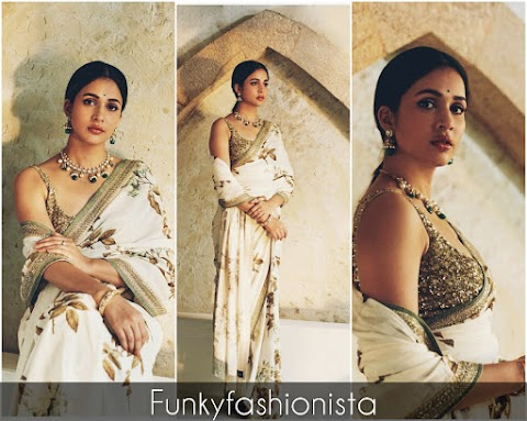 Lavanya Tripathi looks Ravishing in a gorgeous Floral Print Saree By Sabyasachi official