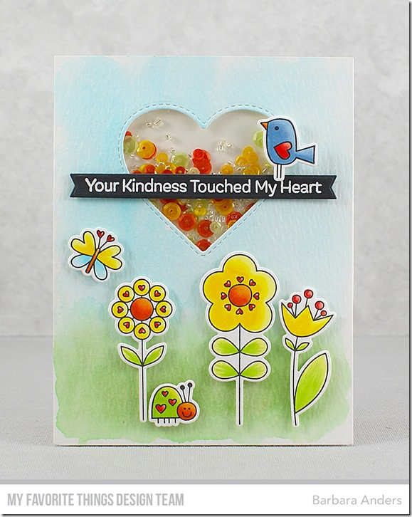Stamps: Sending a Smile   Die-namics: Sending a Smile, Stitched Heart Peek-a-Boo Window, Blueprints 27   Barbara Anders   #mftstamps