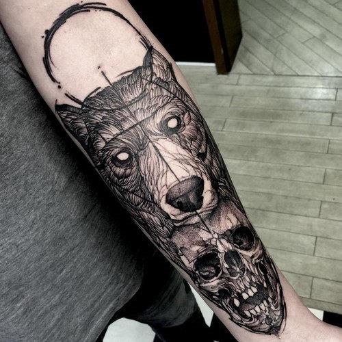 esta_mente_soprando_o_urso_e_o_crnio_de_tatuagem