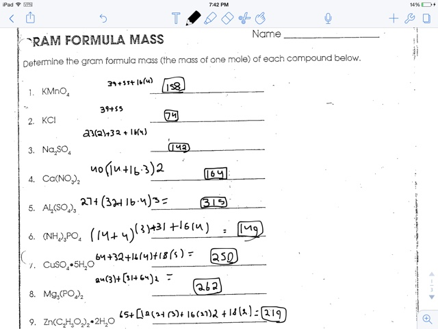 {Gram Formula Mass Worksheet Answers Precommunity Printables – Gram Formula Mass Worksheet Answers