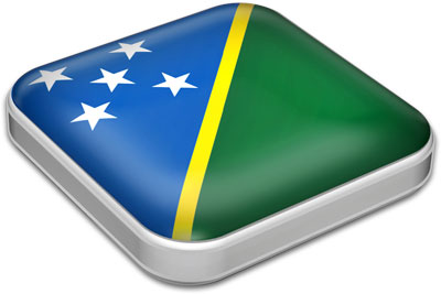 Flag of Solomon Islands with metallic square frame