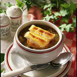 Onion Soup with Camembert Croutons