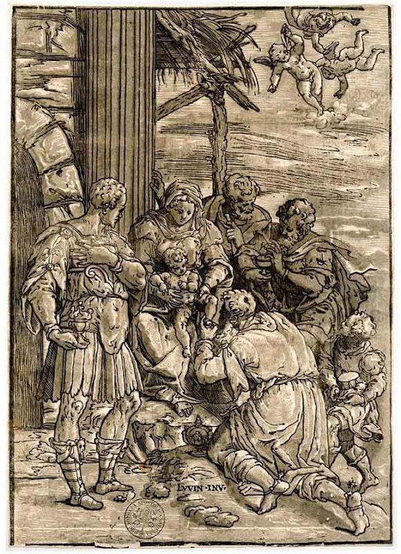 Dibujo a aguatinta de la Adoración de los Reyes Magos