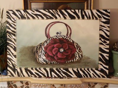 Zebra Purse painting on canvas. A companion piece for the mural I did at Happy Hormone Cottage.