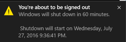 Schedule shutdown 1 hour later - confirmation message