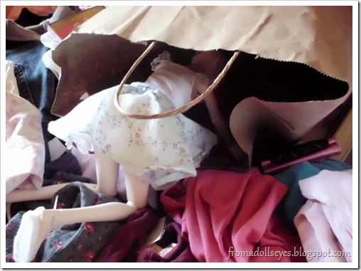 Ball Jointed Doll Crawling into a Shopping Bag