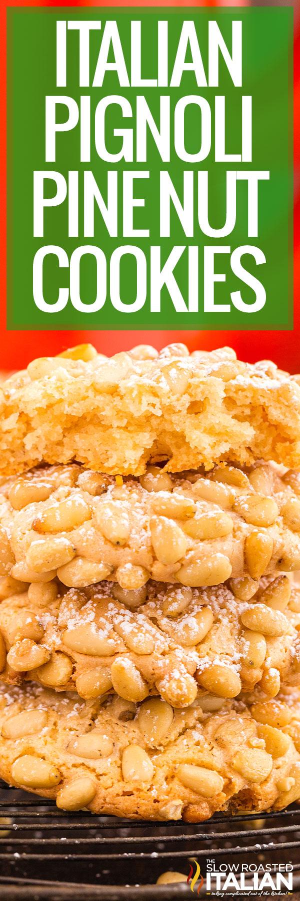 Italian Pignoli Cookies (Pine Nut Cookies) closeup