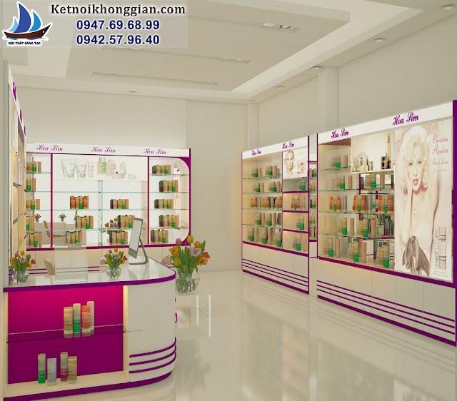 thiết kế shop mỹ phẩm đẹp lung linh cuốn hút các chị em