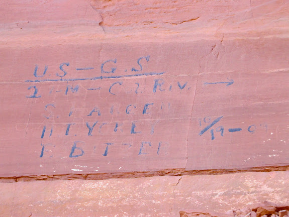 USGS, 21 miles to Colorado River, S. Hargen, H.T. Yokey, E. Bitzer, 10/19/1909 (overlaid on top of H.T. Yokey, J.A. Ross, 1904 inscription)