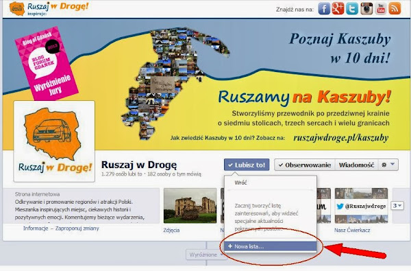 Ruszaj w Drogę na Facebooku - Utwórz nową listę zainteresowań