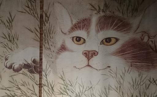 [写真]大きく引き伸ばされた「化け猫」の撮影ポイントにて