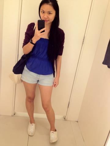 blue tube x denim shorts.. plus the cardie