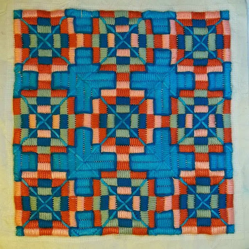 4-way bargello, finished with topstitching