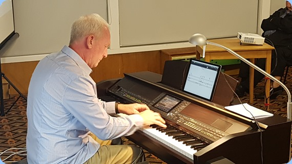 Darren Smith playing the Club's Yamaha Clavinova CVP-509.