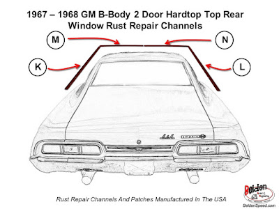 Impala,Bonneville,Wildcat,88,B-Body,rear window rust repair,rear window rust channels, Belden Speed & Engineering,Rustreplace.com