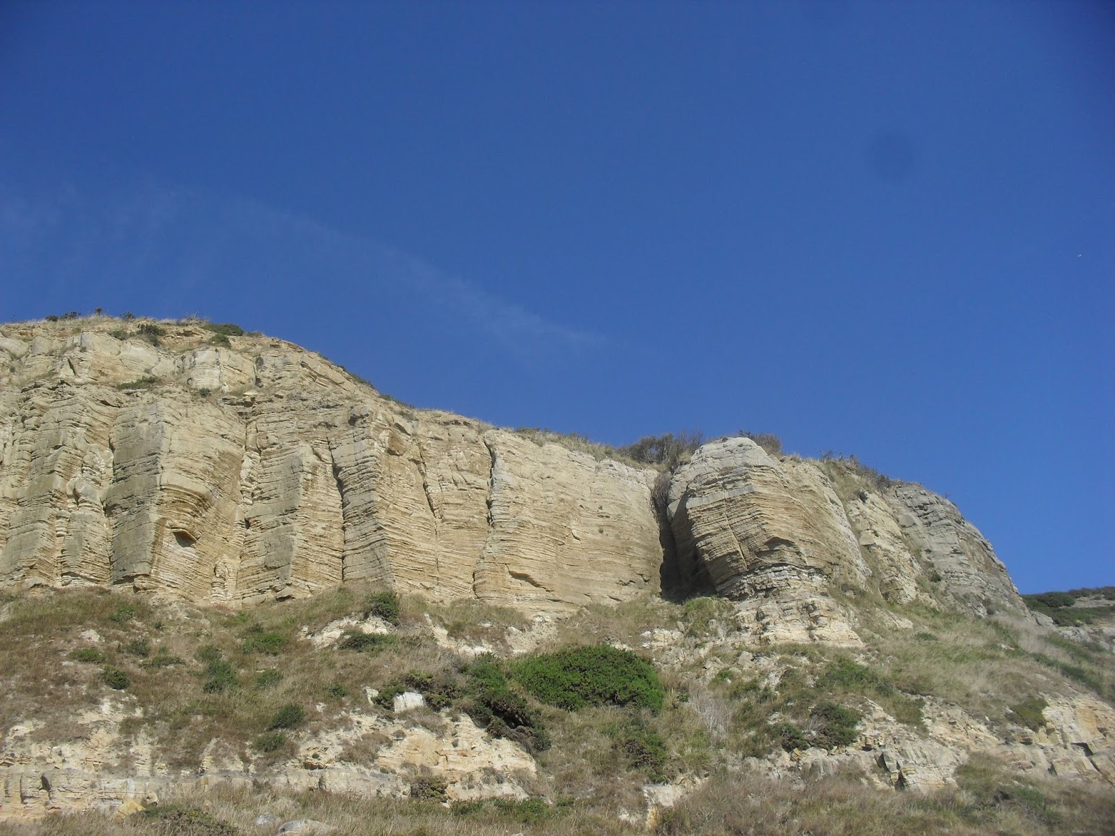 SDC11583 Cliff erosion on seashore route to Fairlight Glen