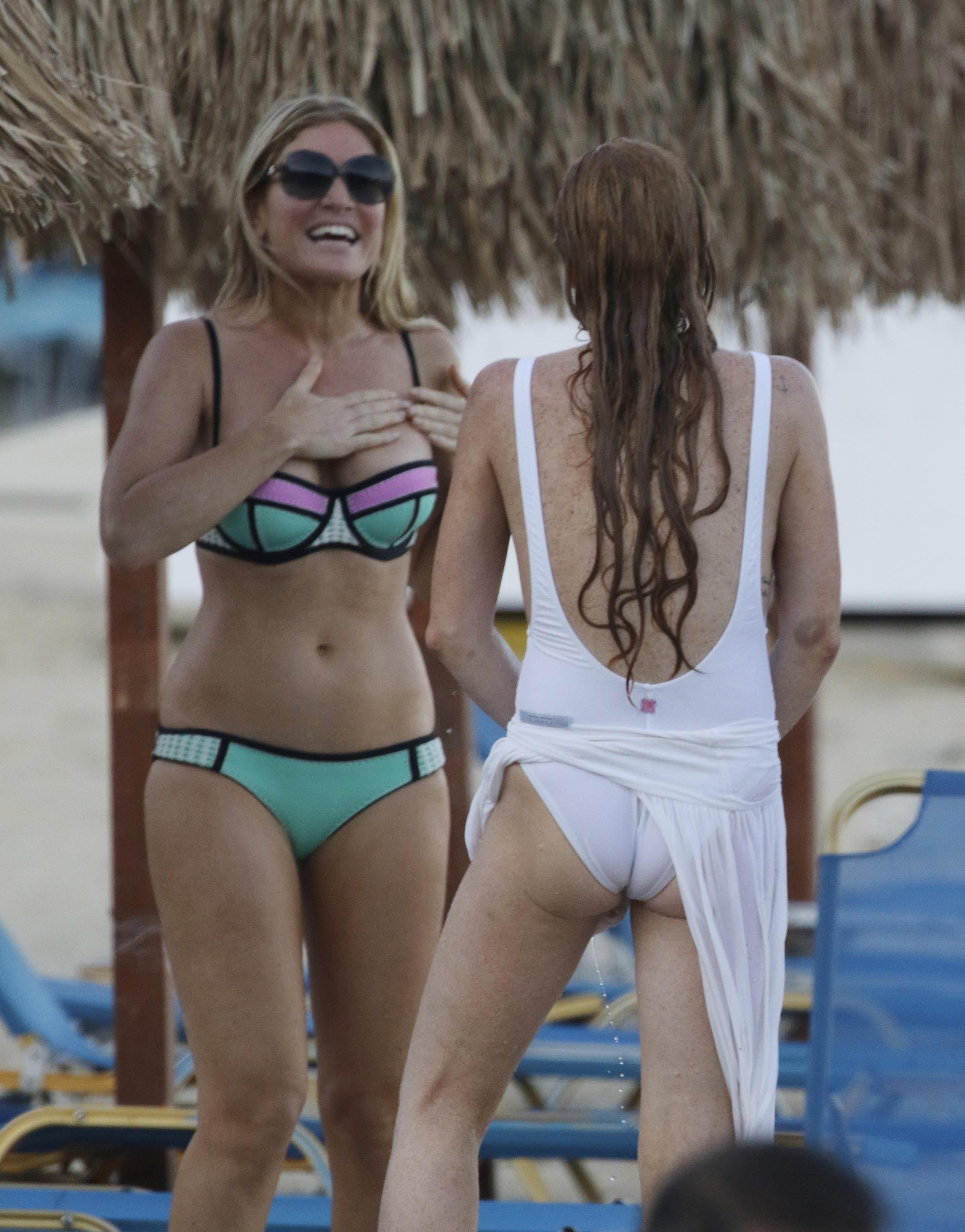 Lohan white bikini swimsuit lindsay