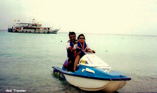couple on water jet ski in phuket