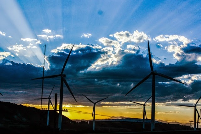 Spanish Fork Canyon Utah windmills at sunset