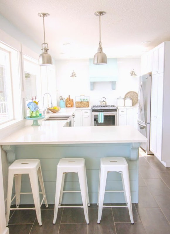 Gorgeous-Coastal-style-white-shaker-kitchen-with-aqua-blue-at-thehappyhousie.com-392