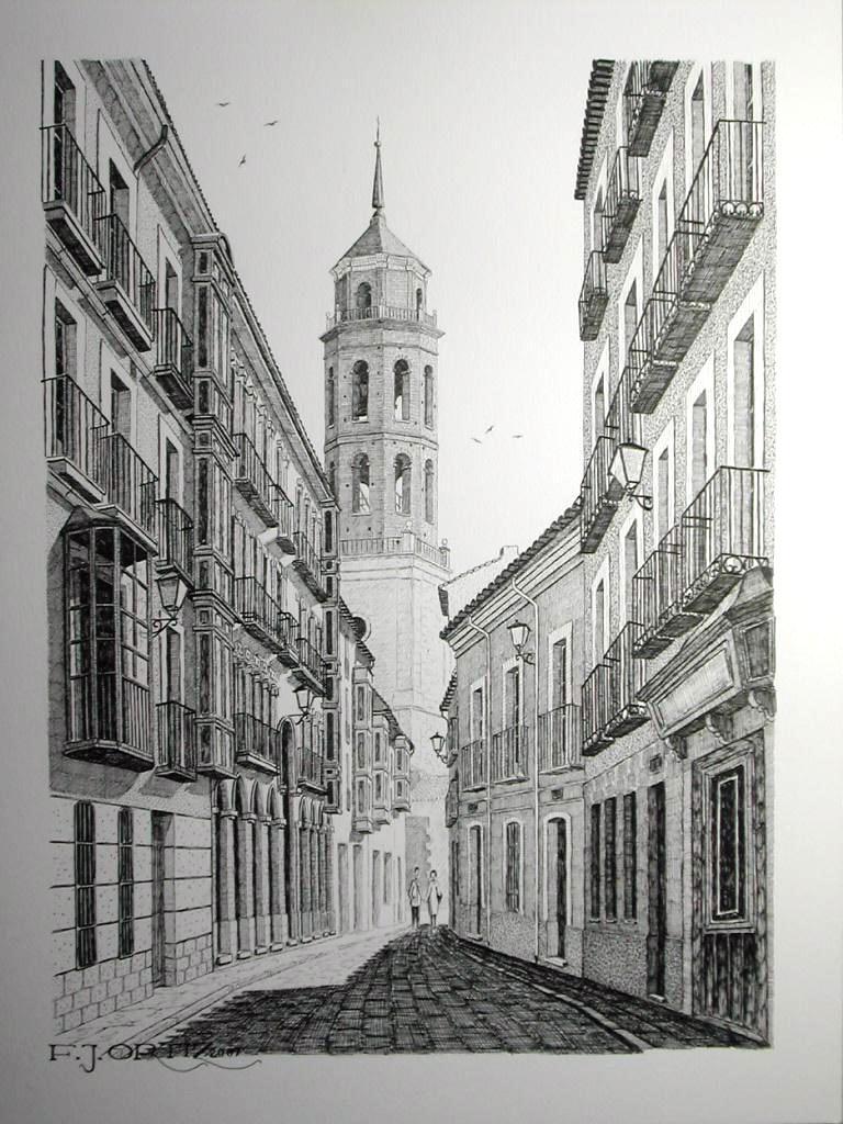 Plumillas f j ortiz la calle de castelar con la torre for Calle castelar