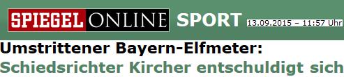 Umstrittener Bayern-Elfmeter: Schiedsrichter Kircher entschuldigt sich