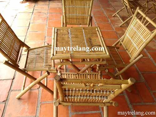 Bàn ghế tre xếp