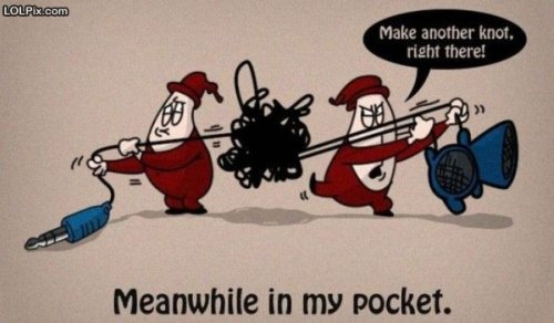cartoon of two gnomes tangling earphone wires while in your pocket