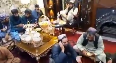 Watch Taliban militants wine and dine in presidential Palace (video)