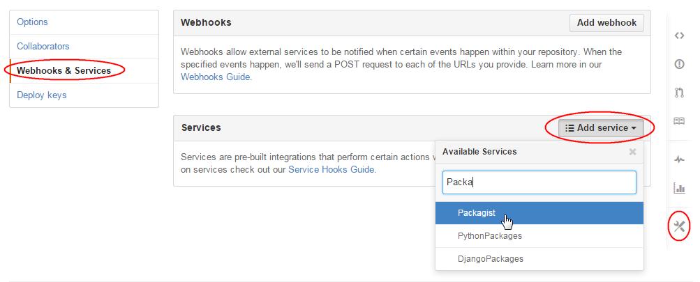 「Webhooks & Services」から「Packagist」を検索し追加