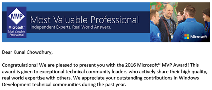 Microsoft MVP in Windows Development (www.kunal-chowdhury.com)