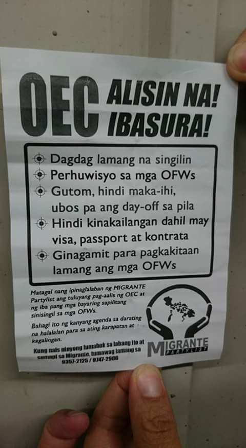 Image of All Overseas Filipino Workers Are Disappointed to POEA OEC Ruling