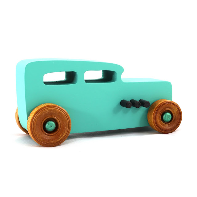 Handmade Wood Toy Car Hot Rod Based on the 1932 Ford Sedan from the Hot Rod Freaky Ford Series