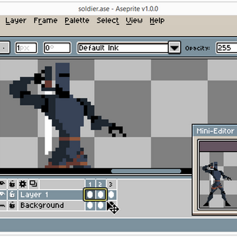Aseprite is an open source program to create animated sprites & pixel: Context Bar.