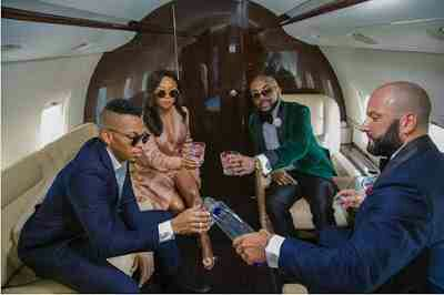 Banky W, Toke Makinwa And Tekno Chilling On Private Jet