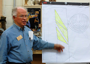 Photo: Phil Brown started his segment of the demo titled How to See and Find Pieces in the Log.   Here he shows how he gets the grain pattern on the right, by positioning his bowls edge near the pith or edge as the yellow forms show.