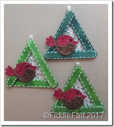 Robin Craft Stick Christmas Tree Decoration