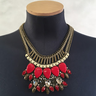 Karen Millen NEW Knit Coral Red Necklace