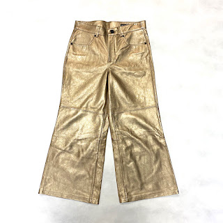 Blank NYC Gold Leather Bell-bottom Pants