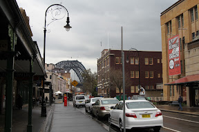 View of the Sydney Harbour Bridge from The Rocks, Sydney's oldest neighbourhood